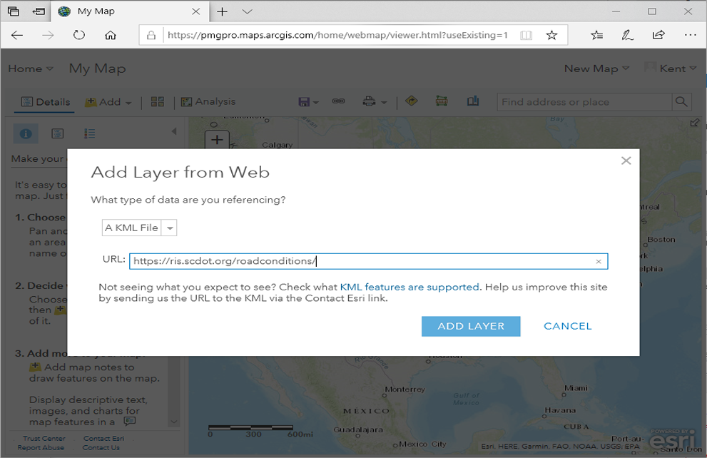 Add Layer from Web Interface in ArcGIS Online.