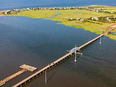 Aerial view of existing Harbor River bridge