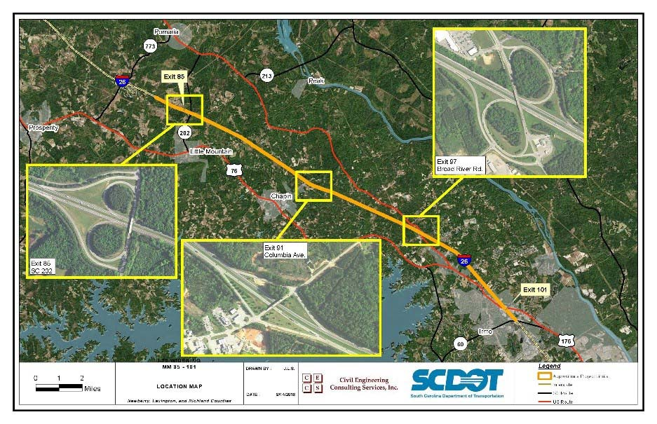 I-26 Widening Project Map