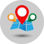 icon showing location markers on a map