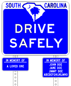 roadside memorial sign