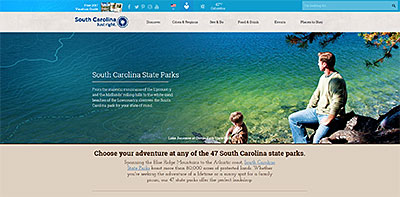 Screen shot of discoversc.com/stateparks